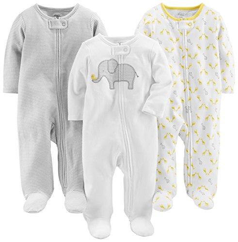 Simple Joys by Carter's Baby Paquete de 3 para dormir y jugar ,Elephant/Stripe/Giraffe ,6-9 Months