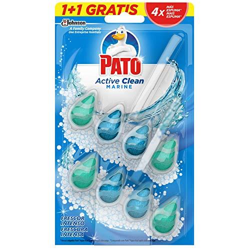 PATO Active Clean Colgador para Inodoro, Frescor Intenso, Perfuma y Desinfecta, Aroma, (duo Pack, 2 Unidades) [todos los Aromas], J308511, Marine, 150 ml