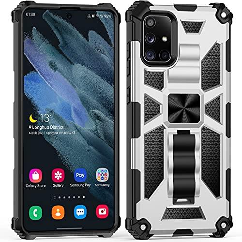 AFARER Funda para teléfono móvil compatible con Samsung Galaxy A71, resistente al aire libre con soporte, doble capa dura PC + carcasa TPU – Plata