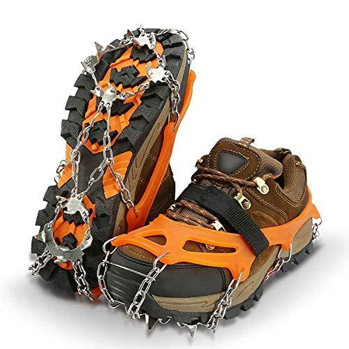 IPSXP Crampones, 19 Dientes Tacos de tracción Nieve y Hielo Tracción para Invierno Deportes Montañismo Escalada Caminar Alpinismo Cámping Acampada Senderismo (XL)