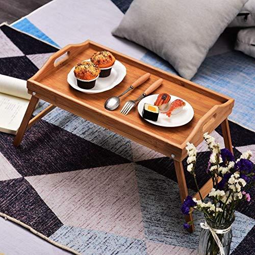 Tienda Eurasia Bandeja para Cama Plegable, mesita desayuno con Patas Plegables, Natural, 50x30x24 cm