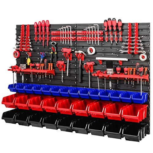 PAFEN Sistema de almacenamiento – 1152 x 780 mm – Estantería de pared con cajas apilables – Soporte para herramientas – Estante de pared extra fuerte (azul/rojo/negro)