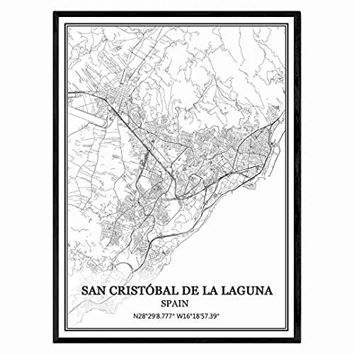San Cristóbal de La Laguna España Mapa de pared arte lienzo impresión cartel obra de arte sin marco moderno mapa en blanco y negro recuerdo regalo decoración del hogar