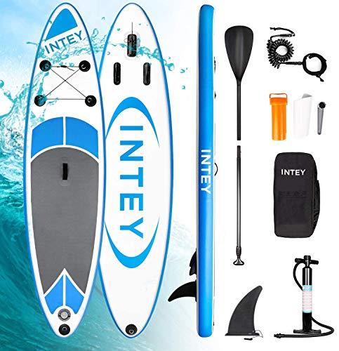 INTEY Tabla Paddle Surf Hinchable, Sup Paddle Remo Ajustable, Tabla Stand Up Paddle Board, Bomba de Doble, Seguridad (Azul)
