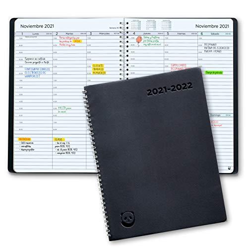 Agenda 2021 2022 con Vista Semanal – Planificador 2021 2022 Semana Vista – Diario Espiral que Inspira Productividad - Intervalos de 30 minutos - Julio 2021 a Agosto 2022, Calendario A4, en Español