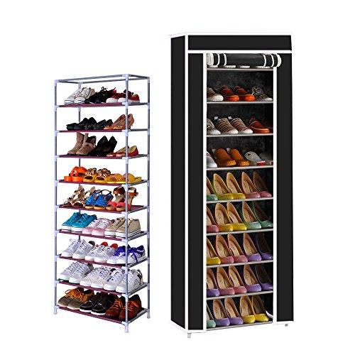 T-LoVendo TLV-FS-58160 Zapatero con Cubierta de Tela 10 Niveles Organizador Zapatos Estantería
