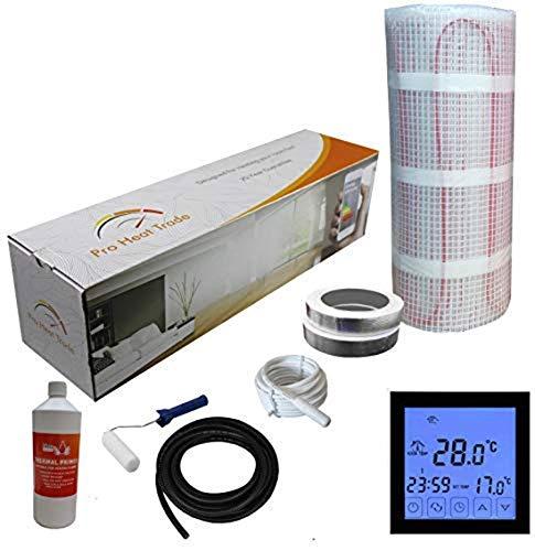 Nassboards Premium Pro - Kit de Calefacción Eléctrica Caja Amarilla Por Suelo Radiante de 150 W - 3.5m² - Termostato Negro Con Pantalla Táctil