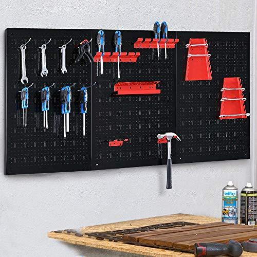BAKAJI - Panel de Pared con Ganchos y Soporte para Herramientas de Acero, Metal, Multicolor, 120 x 60 cm