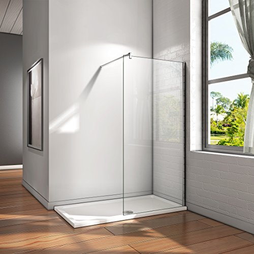 Mampara ducha Panel Pantalla Fija cristal 8mm templado para baño (80x200cm)
