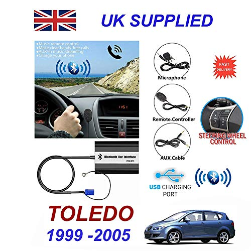 Cablesnthings Seat Toledo Serie (1999-2005) Bluetooth Manos Libres Teléfono Aux MP3 USB 1.0A Cargador Módulo 8PN