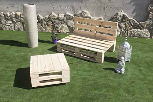 Palets Talavera SL Conjunto 1x Sofa Palet 12Ocm x 80cm 1x Mesa 80cm x 50cm Lijado Y Cepillado -Interior/Exterior Nuevo-Natural