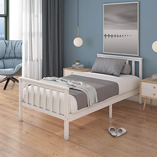 Panana - (196x98x82cm Marco de Cama Individual con Listones Madera Pino Modelo 3 Pies Moderna Estructura Sencilla Color Blanco (Cama-01)