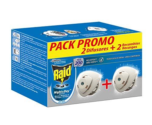 Raid  Night & Day - Pack 2 Aparato electrico anti moscas, mosquitos y hormigas. Enchufe inoloro con más de 200 horas de protección. Incluye 2 Difusor y 2 Recambio