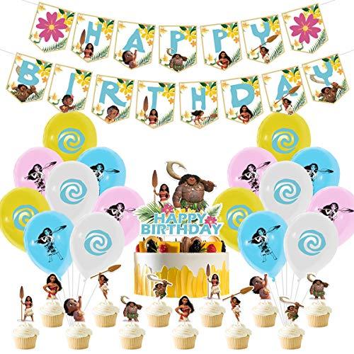 YUESEN Moana Decoración Globos de Fiesta Látex Balloons Happy Birthday Banner Cake Topper Suministros de Fiesta Decoración Cumpleaños de Moana para Niños 30 Piezas