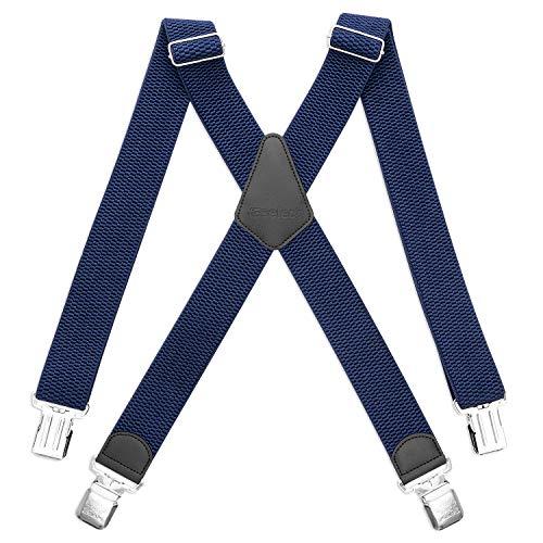 HBselect Tirantes 4 Clips X Forma Ancho 4 cm Tirantes Elásticas Longitud Adjustable Para Hombre y Mujer (Azul Marino)