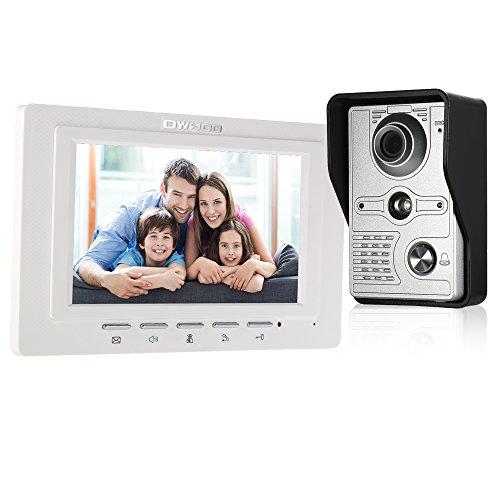 OWSOO Videoportero Cableado Timbre Intercomunicador (1000TVL Cámara de Vigilancia Exterior, 7' TFT LCD Monitor Interior, IR-Cut, 2-Vías de Audio, Desbloqueo Remoto, Visión Nocturna)
