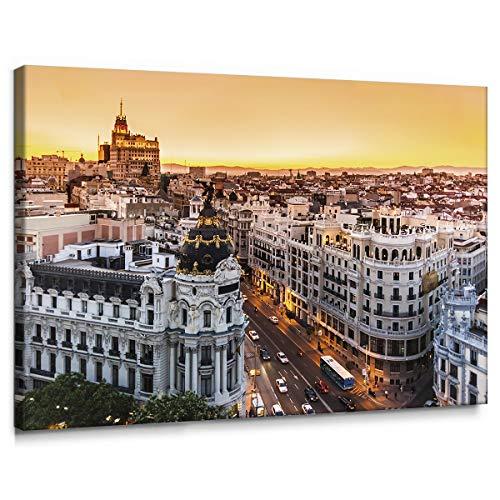 Cuadro de Gran Vía de Madrid en Lienzo de 100 x 70 cm, Decoración para Pared de Salón, Dormitorio y Oficina, Impreso en Lienzo y Enmarcado sobre Bastidor de Madera, LEN-039