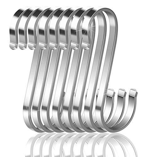 16 Paquete Ganchos S, Ganchos en Forma de S Acero Inoxidable Ganchos Cocina Metal Ganchos para Colgar el Gabinete de la Cocina Oficina del Dormitorio del Baño
