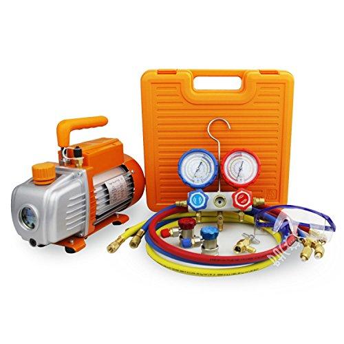 BACOENG Juego de manómetros diagnósticos, Bomba de vacío, Ideal para R22, R134a, R410A, R407C