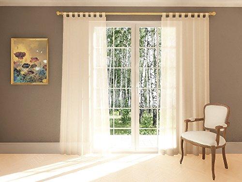 Splendid DIANA - Cortina de confección con trabillas ocultas, 1 unidad de 140 x 245 cm, Marfil (Crudo)