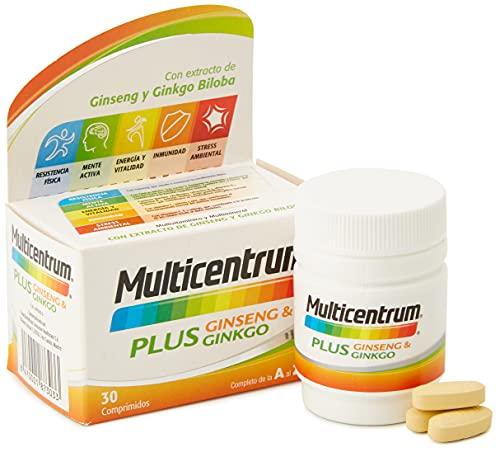 Multicentrum Plus Ginseng & Ginkgo, Complemento Alimenticio Multivitaminas con 13 Vitaminas, 11 Minerales, Ginseng y Ginkgo Biloba, Sin Gluten, 30 Comprimidos