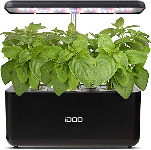 iDoo Sistema de Cultivo hidropónico, Jardinera de Interior de Hierbas con luz de Crecimiento LED, Smart Garden con 7 vainas, Altura Ajustable, Kits de Germinación Inteligente para Casera, ID-IG201