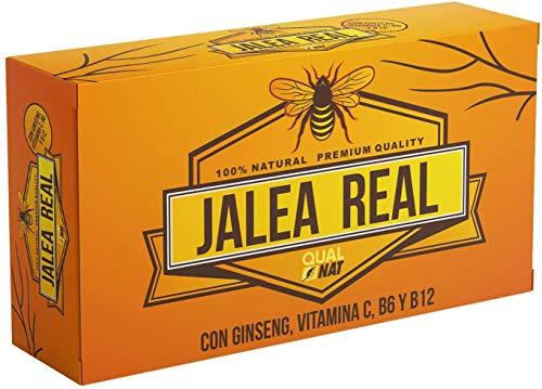Jalea Real con Ginseng Rojo   Vitamina C   Vitaminas B6 y B12   Refuerza el Organismo (20 AMPOLLAS)- Qualnat.