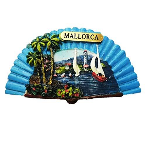 Weekinglo Souvenir Imán de Nevera Mallorca Fan España Resina 3D Artesanía Hecha A Mano Turista Viaje Ciudad Recuerdo Colección Carta Refrigerador Etiqueta