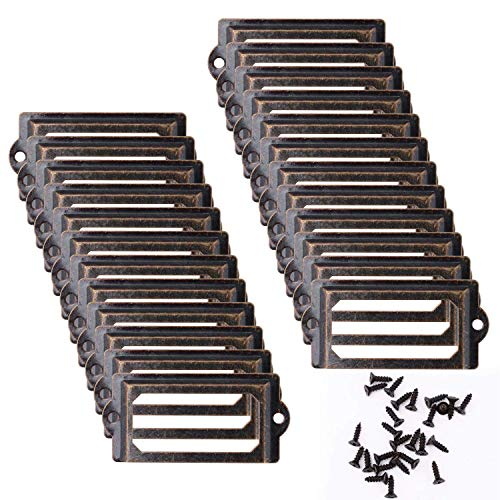 Marco de etiqueta de 24 piezas 70 * 33 mm Marco de etiqueta de bronce vintage Portatarjetas Titular de etiqueta Insignias de nombre para muebles, gabinetes, gabinete de farmacia, archivador, cajones