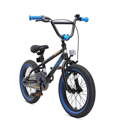 BIKESTAR Bicicleta Infantil para niños y niñas a Partir de 4 años   Bici 16 Pulgadas con Frenos   16' Edición BMX Negro Azul