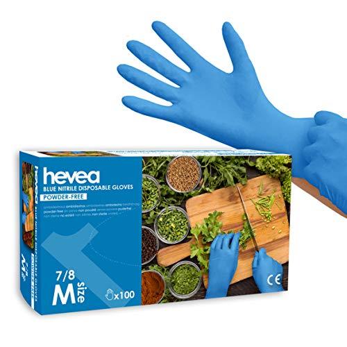 Hevea Guantes Desechables de Nitrilo sin Polvo, Azul, Caja de 100, Talla M