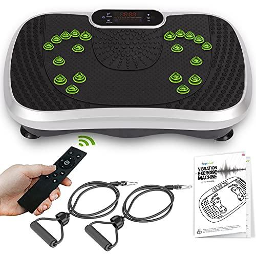 WeightWorld Plataforma Vibratoria Fitness - Máquina de Ejercicio y Masajes, Entrenamiento en Casa, con Altavoz Bluetooth, Mando a Distancia y Gomas Elásticas Fitness, 99 Niveles