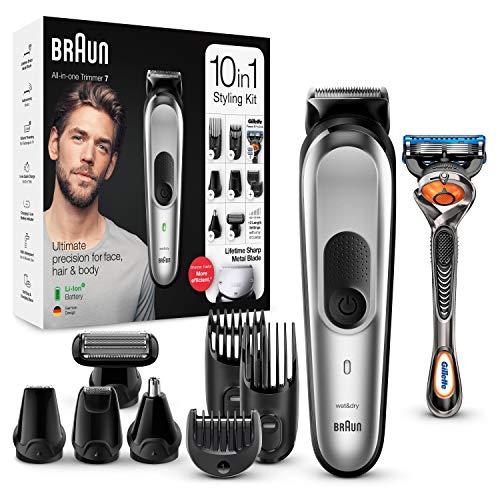 Braun MGK7220 - Recortadora 10 en 1, Máquina recortadora de barba, set de depilación corporal y cortapelos para hombre, color gris plateado, Maquina cortar pelo