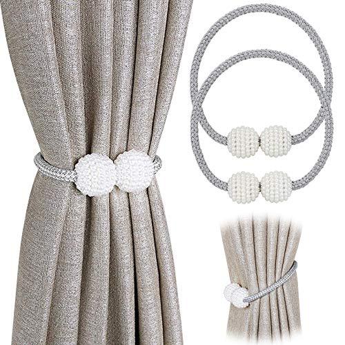 PINOWU - Lote de 2 cordones de sujeción magnéticos para cortinas, decorados con perlas, para cortinas de ventana pequeñas, finas o transparentes
