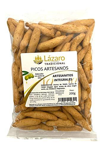 Lázaro Artesanitos Integrales, Picos de Pan Artesanos Elaborados con Aceite de Oliva Virgen Extra y Harina de Trigo InteGramosal, 200 Gramos