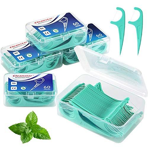 BEYAOBN Hilo dental 300 Piezas para interdental oral limpieza menta clara Palillos de hilo dental Plástico con estuches portátiles perfectos para la familia, hotel, viajes