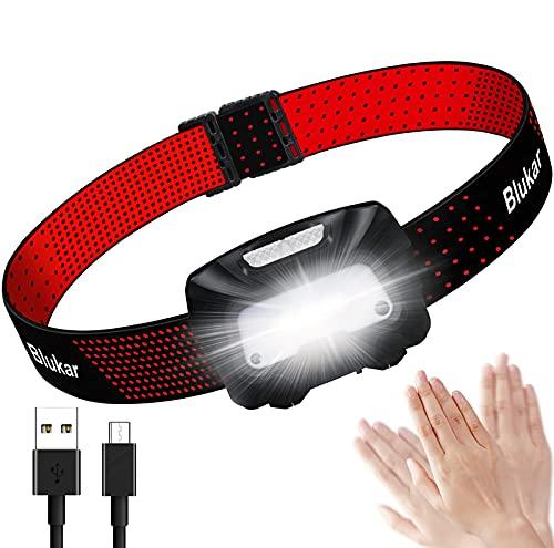 Linterna Frontal LED Recargable, Blukar COB Linterna Cabeza Recargable USB de 6 Modos, Super Brillante Con Modo de Inducción Ligera y Impermeable para Correr, Acampar, Pescar, Ciclismo
