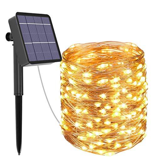 Guirnalda Luces Exterior Solar, Kolpop Cadena de Luces 26 Metros 240 LED, 8 Modos de Luz, Decoración para Navidad, Fiestas, Bodas, Patio, Dormitorio Jardines, Festivales, etc (Blanco Cálido)
