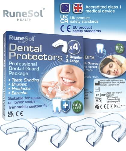 Ferula dental para bruxismo (4)| 100% libre de BPA | Tecnología de fácil moldeado | Paquete de seis protectores dentales en tres tamaños | Protector dental para evitar el rechinamiento