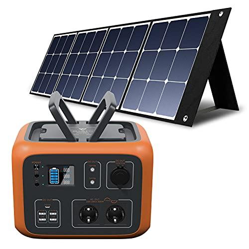 PowerOak Bluetti AC50S 500Wh Generador Solar Portátil con 1 Pieza Panel Solar 120W, Generador Electrico Solar con Salidas AC/DC/USB Power Station con Batería de Litio para Camping Autocaravana