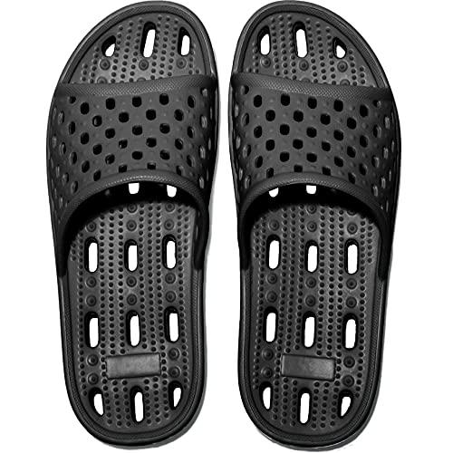 Zapatillas de Ducha para Mujeres Antideslizantes Chanclas y Sandalias de Piscina Sandalias de Baño, Negro,40 EU