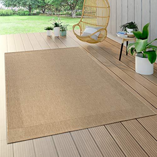 Paco Home Alfombra Interior Y Exterior Tejido Liso Efecto Sisal Aspecto Natural Monocolor Beige, tamaño:80x150 cm