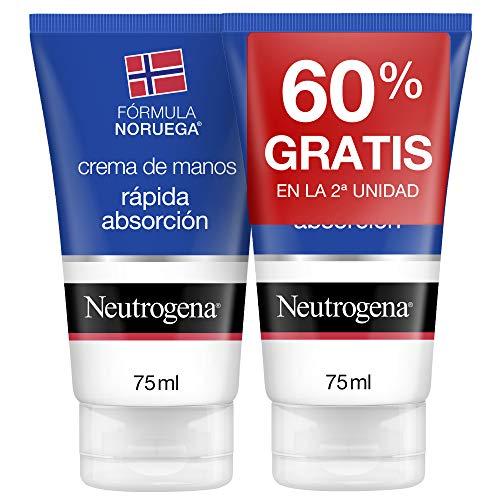Neutrogena Crema de Manos Reparadora para Grietas Fórmula Noruega, Rápida Absorción, Pack 2 x 75 ml