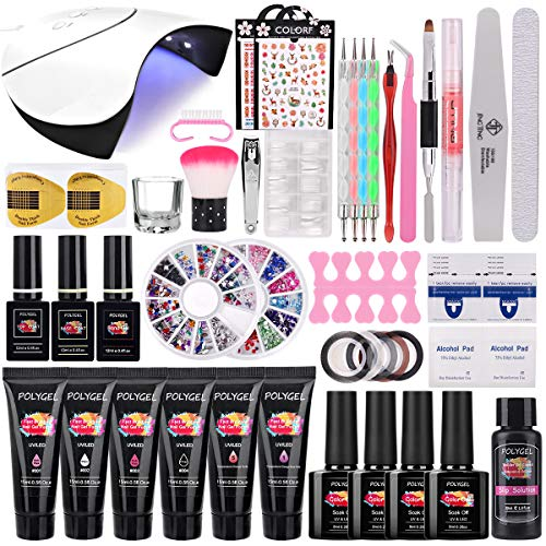 TopDirect 36W UV/LED Lámpara Uñas Gel Kit, 6Pcs extensión de uñas gel 15ml + 4 Pcs Esmalte de uñas de gel Soak off 8ml con Top y Base Coat Herramientos de Uñas Arte