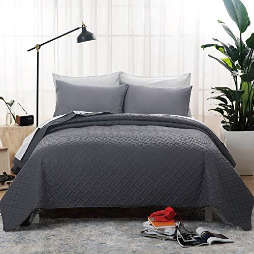 Bedsure Colcha Verano Cama 150 Negro - Colcha Bouti de Primavera y Entretiempo Reverisible, Cubrecama Fina 250x280cm