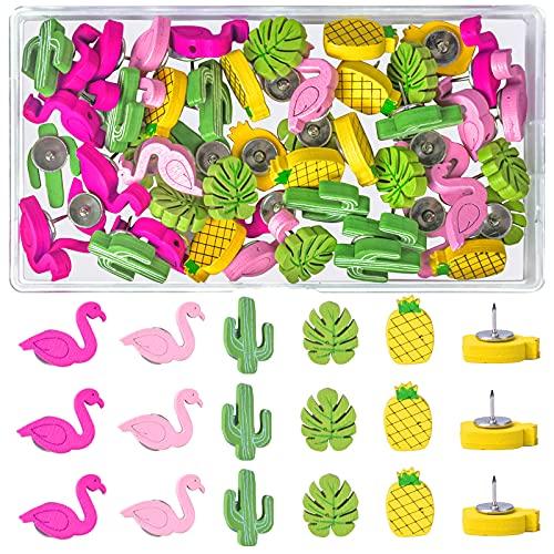 Jinlaili 50 Piezas Chinchetas de Madera, Alfileres de Hoja de Palma Piña Flamingo Cactus, Lindas Tachuelas Pines de Empuje Decorativa para el Tableros de Corcho Anuncios Panel de Anuncios Fotos Muro