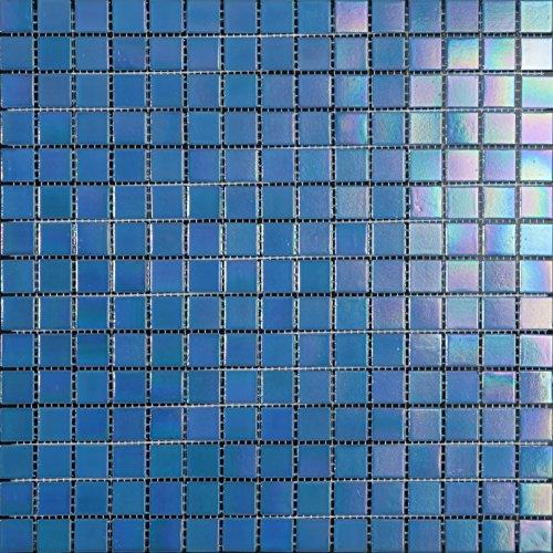 Decostyle DEC-74291AXT005 - Mosaico de Vidrio en Malla, Azul, 4 mm, 32.7 x 32.7 cm, Set de 10 Piezas