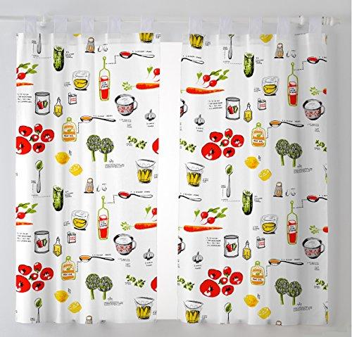 Martina Home Pack 2 Cortinas con visillo para Cocina modelo Vino ,medida 100 x 140 cm