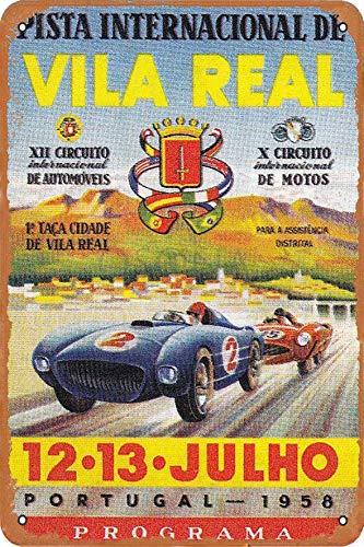 OSONA Racing Series Illustration Pista De Vila Real Retro nostálgico arte tradicional color óxido logotipo de lata publicidad llamativa decoración de la pared regalo