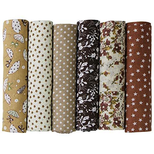 UOOOM 6pcs 50 x 50 cm, diseño de retales algodón Tejido DIY hecho a mano Costura Quilting tela diseños diferentes (Marrón)